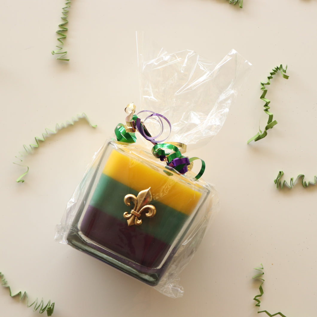Tri-Color King Cake Candle
