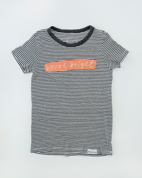 Shine Bright Black + White Striped Women's Fitted T-Shirt