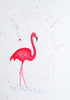 Red Brush Art Animal Portrait Flamingo Pen drawing