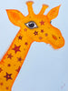 Red Brush Art Animal Portrait Giraffe Acrylic Painting