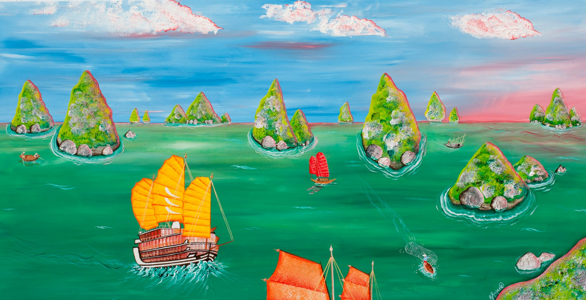 Red Brush Art Halong Bay Painting