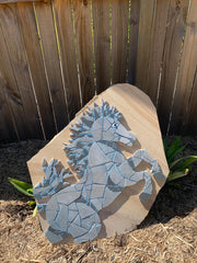 Horse Mosaics On Sandstone In Garden
