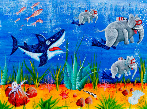 Red Brush Art Secret Life of Elephants Sharks Garden Painting