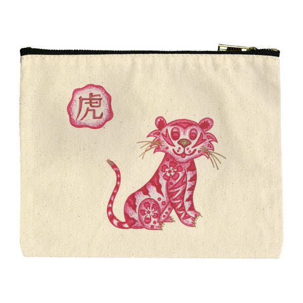 Red Brush Art Zodiac Cotton Canvas Pouch