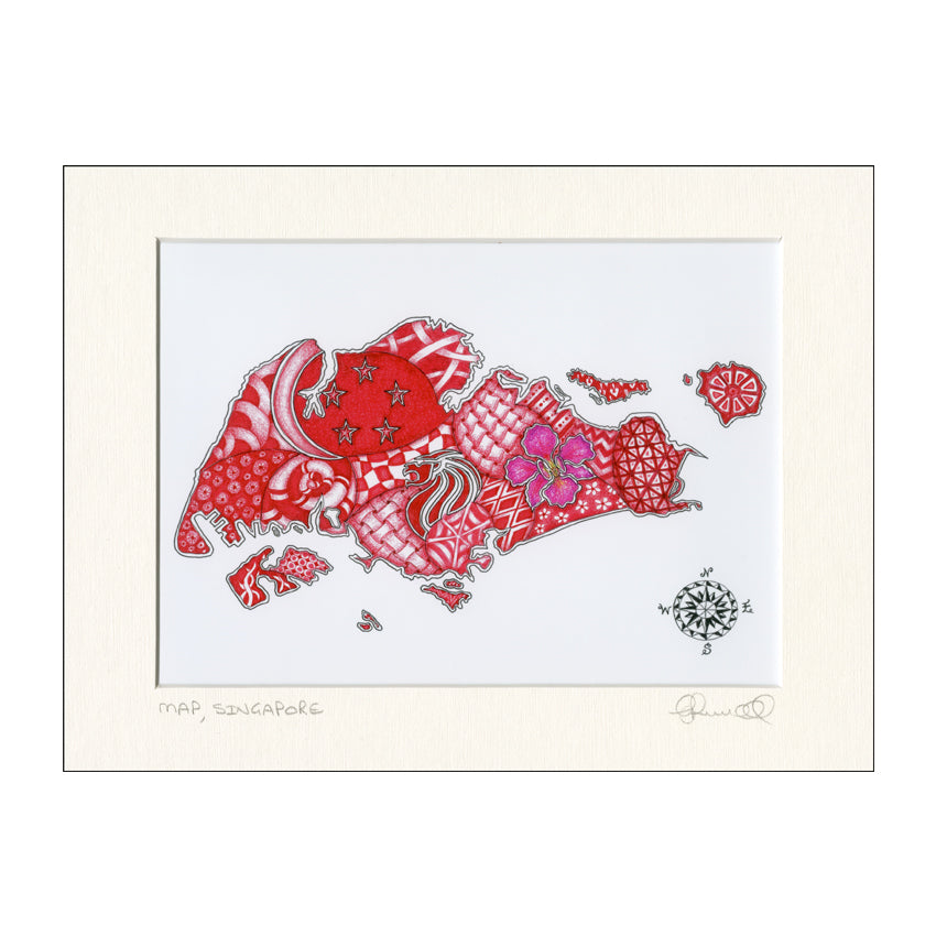 Red Brush Art Singapore Scenes Print