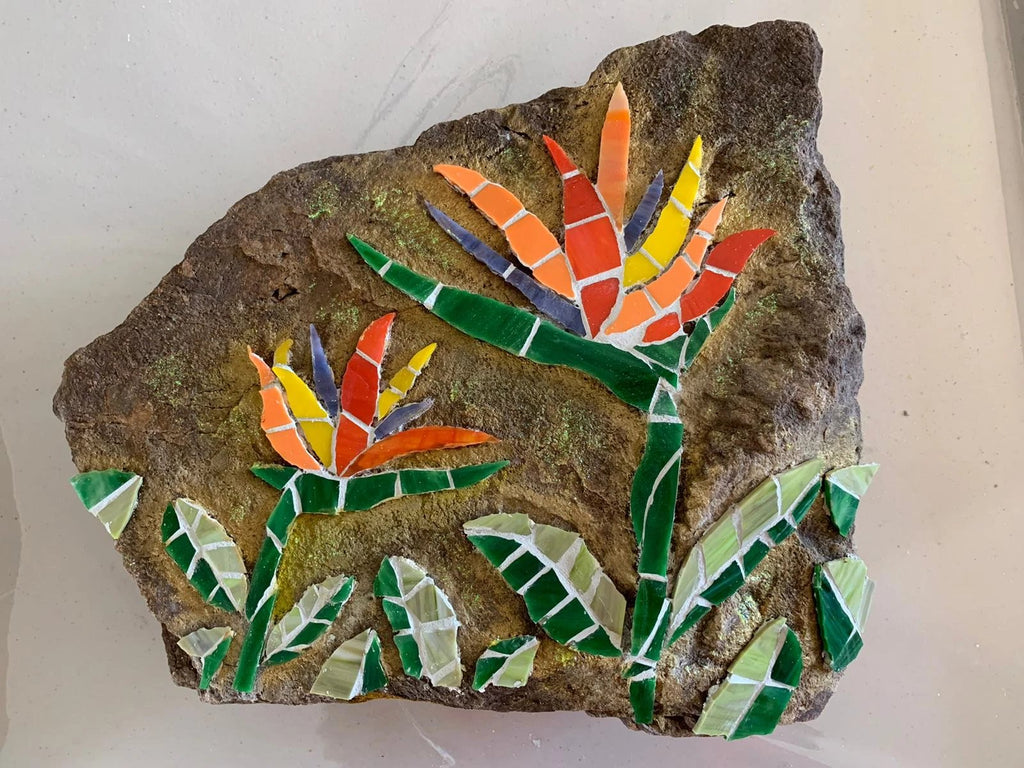 Bird of Paradise Mosaic Red Brush Art