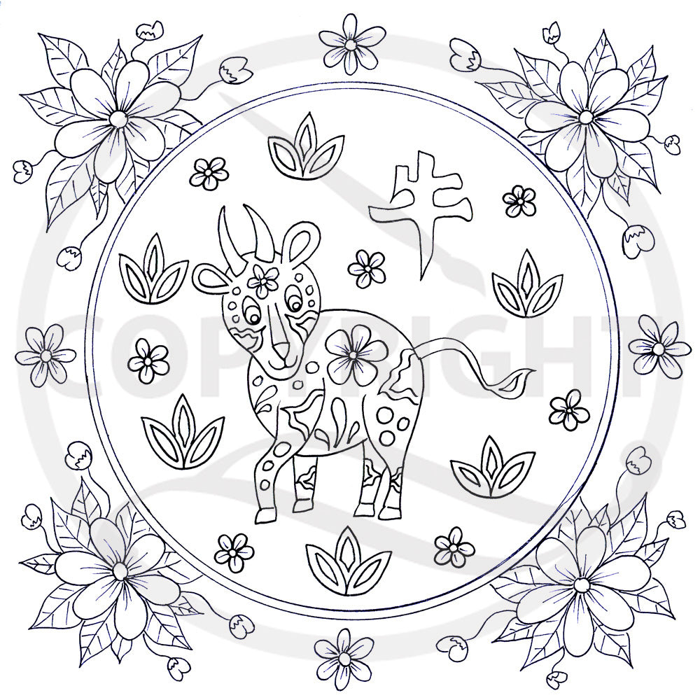 Chinese Zodiac Animal Horse Colouring Page