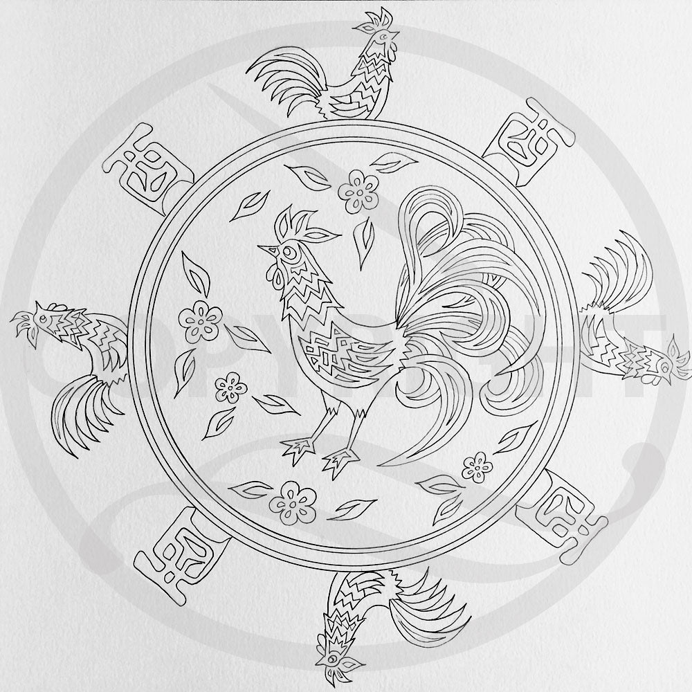 Chinese New Year Rooster Mandala 1 Colouring Page