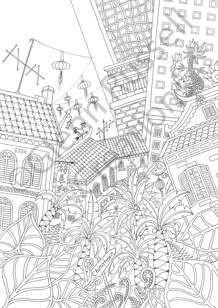 Singapore Scenes Chinatown Colouring Page