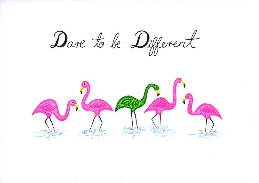 Quotes - Dare to Be Different - Flamingo
