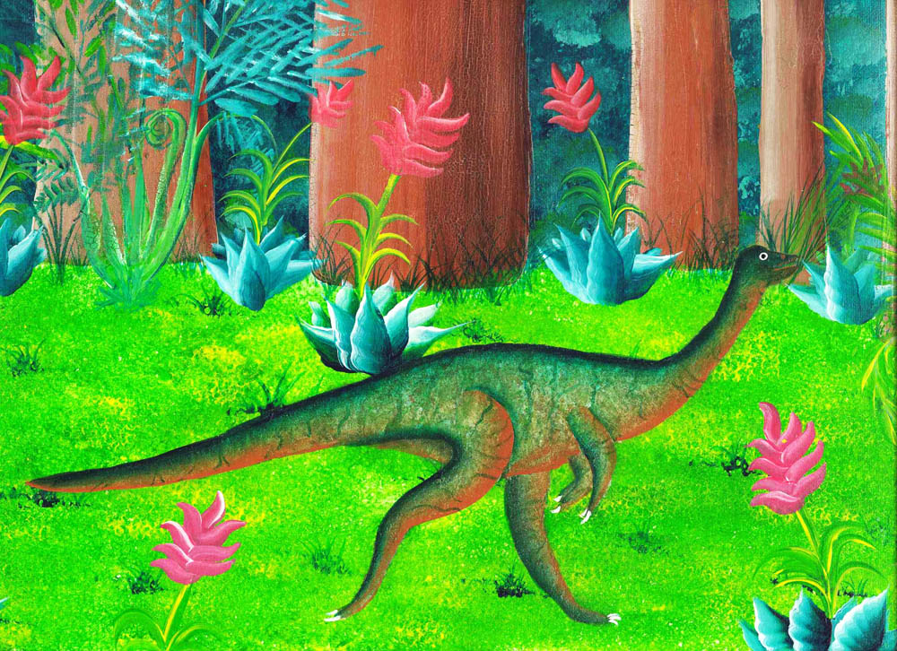 Red Brush Art Dinosaurus Alphabetus Prints