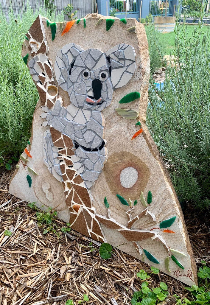 Koala Mosaic Red Brush Art