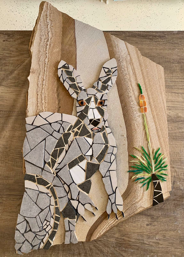 Kangaroo Mosaic Red Brush Art