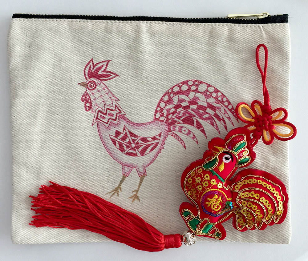 Red Brush Art Cotton Canvas Pouch