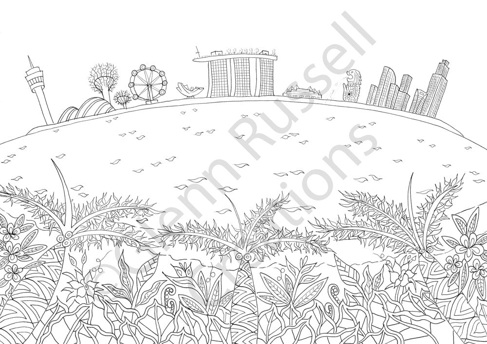 Singapore Scenes - Original Pen Sketch - Skyline
