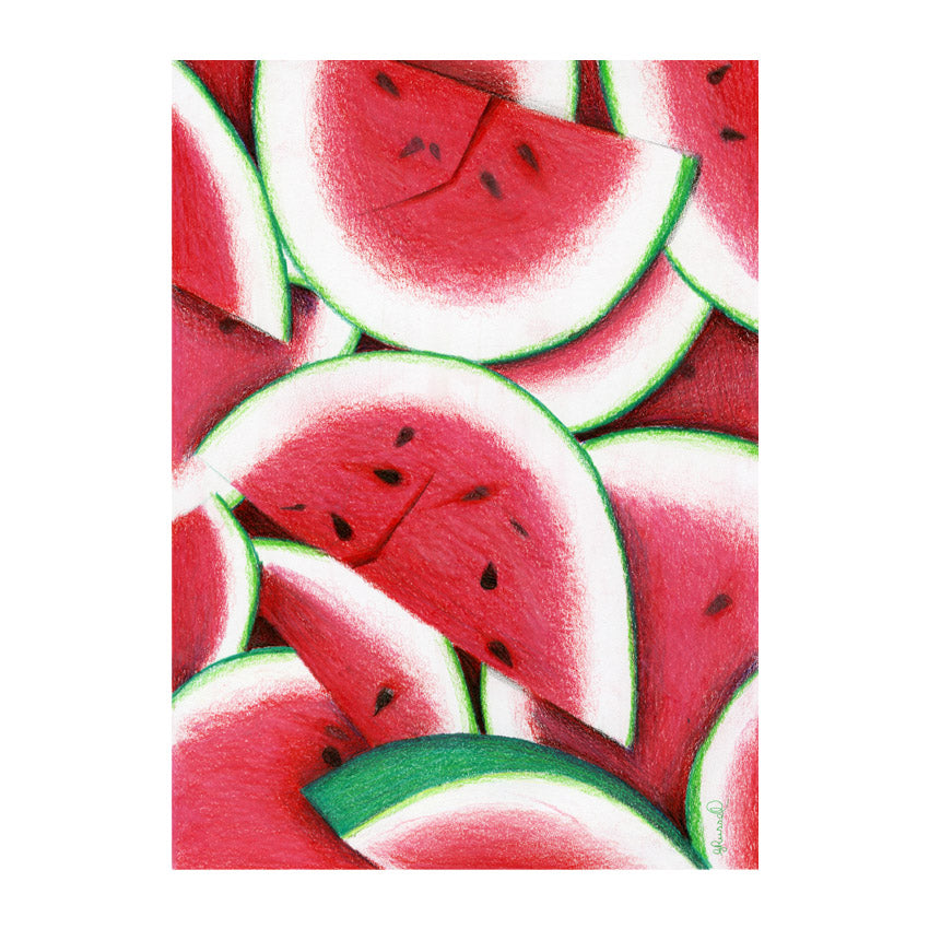 Red Brush Art Tea Towel