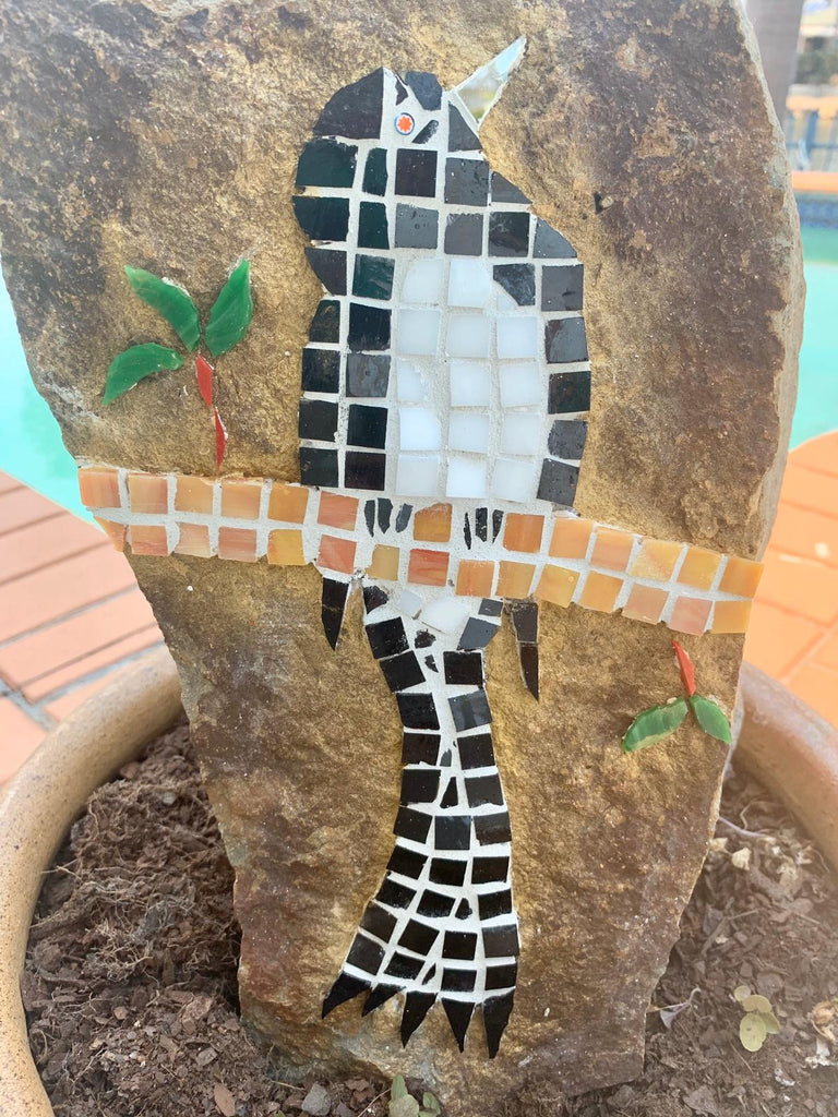 Willie Wagtail Mosaic Red Brush Art