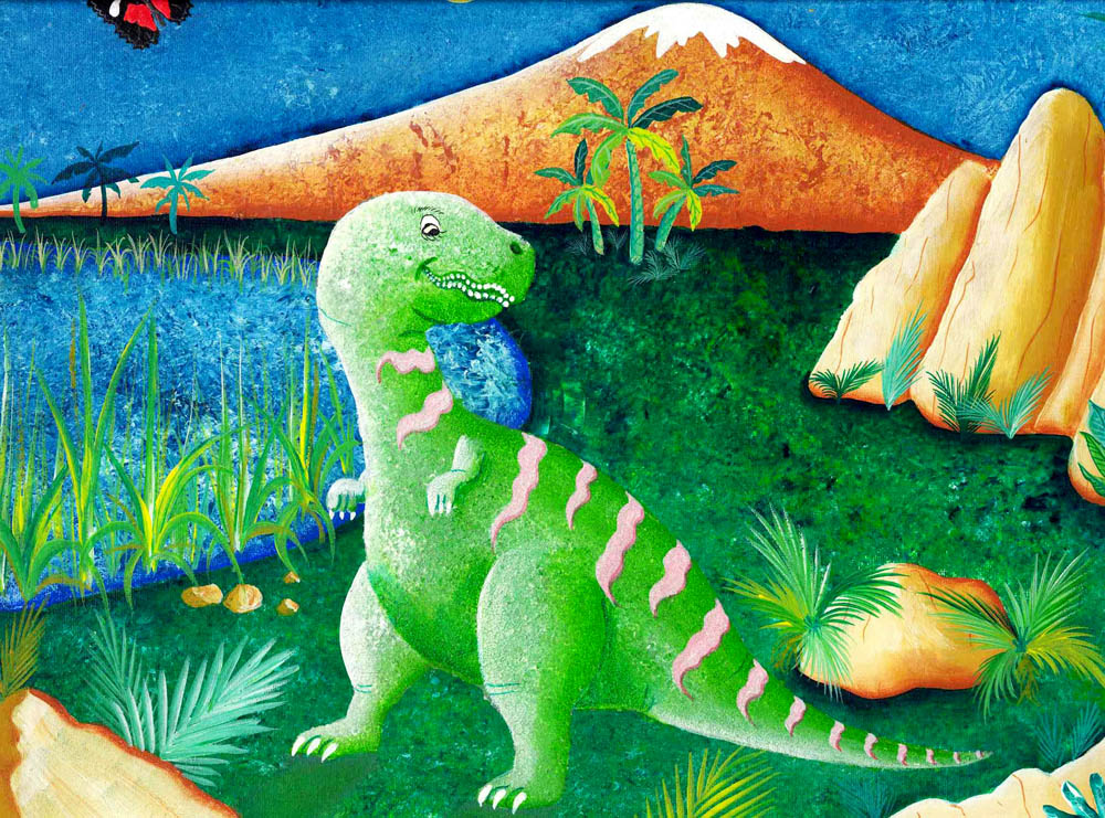 Red Brush Art Dinosaurus Alphabetus Print