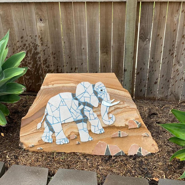 Mosaics on Sandstone Elephant