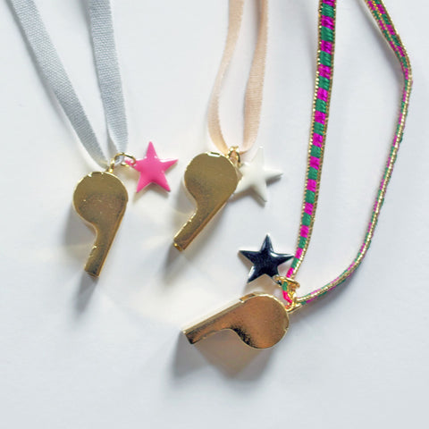 RIBBON NECKLACE - WHISTLE