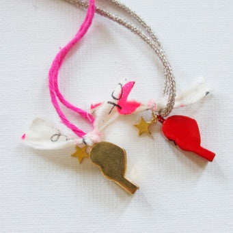 NECKLACE - RIBBON - HEART WHISTLE