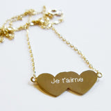 Je T'aime Hearts 14K Gold Necklace