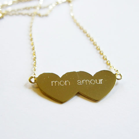 mon amour  Hearts 14K GOLD Necklace