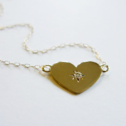 Heart + Diamond 14K Gold Necklace