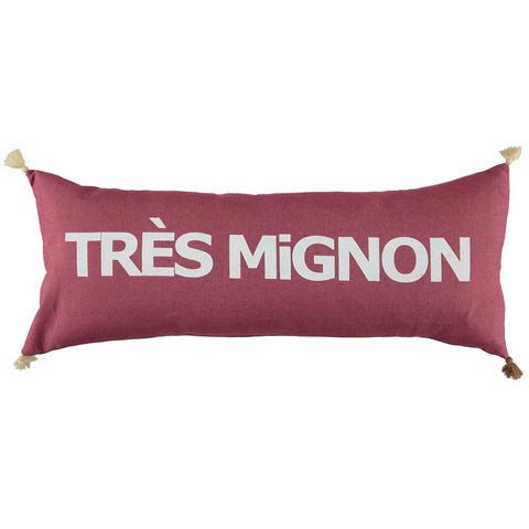 CUSHION - DOUBLE CUSHiON - TRÈS MiGNON WHiTE ON BORDEAUX