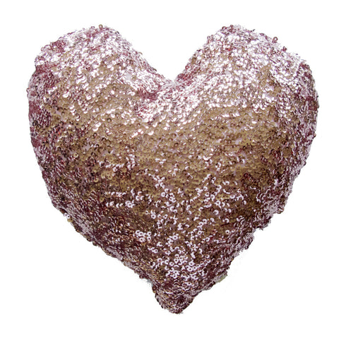 PiLLOW - HEART SEQUiNS- GOLD