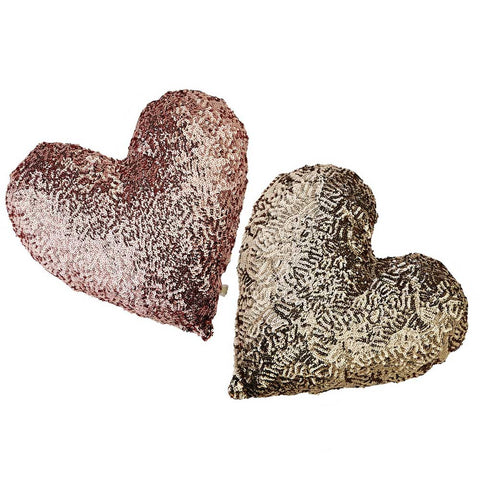 HEART SEQUiNS PiLLOW  - LARGE
