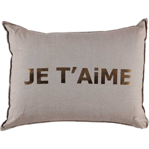 CUSHiON - LETTER - BONNE NUiT GRAY ON MiLKY WHiTE