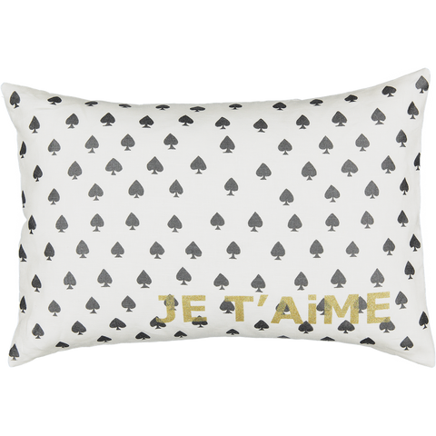 JE T'AiME CARTE CUSHiON - SPADE iN MiLKY WHiTE