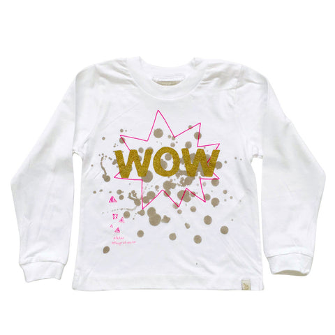 TEE LONG SLEEVE - WOW - GOLD GLiTTER