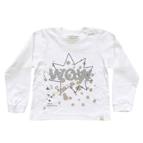 TEE LONG SLEEVE - WOW - SiLVER GLiTTER