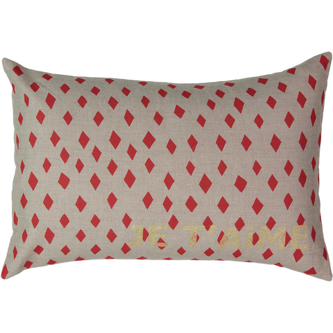 Je T'aime Carte Cushion with Red Diamond in Coconut