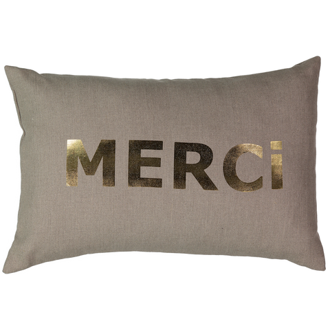 CUSHiON - LETTER - MERCi GRAY ON MiLKY WHiTE