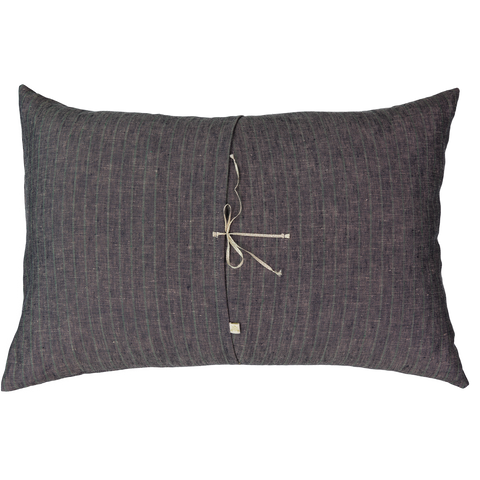 Merci Stripe Linen Cushion in Navy
