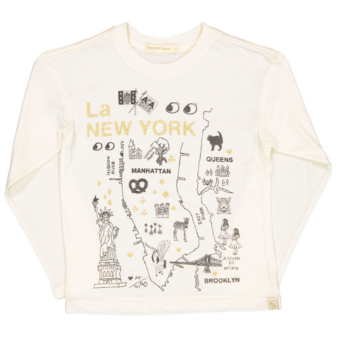 LARA LONG SLEEVE TEE - La NEW YORK in GOLD