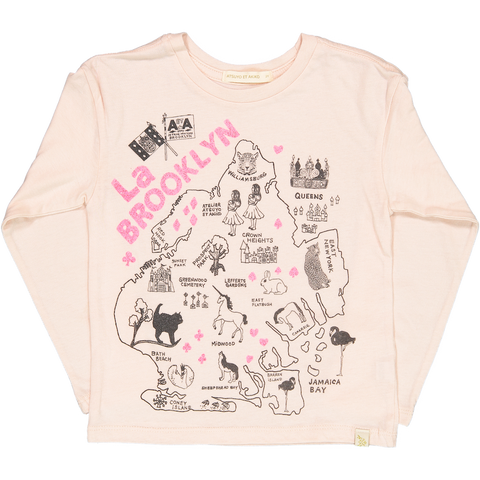 LARA LONG SLEEVE TEE - La BROOKLYN in PiNK