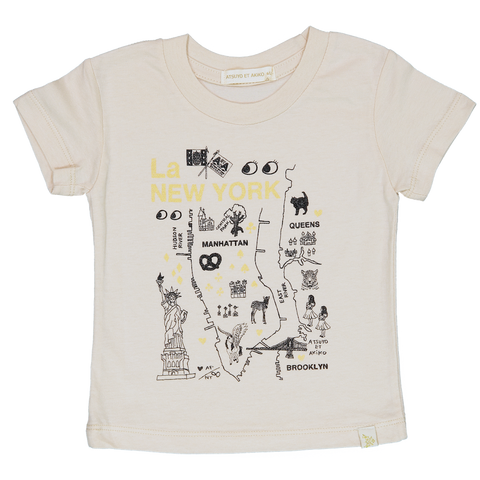 NATURAL CREW TEE - La NEW YORK in GOLD