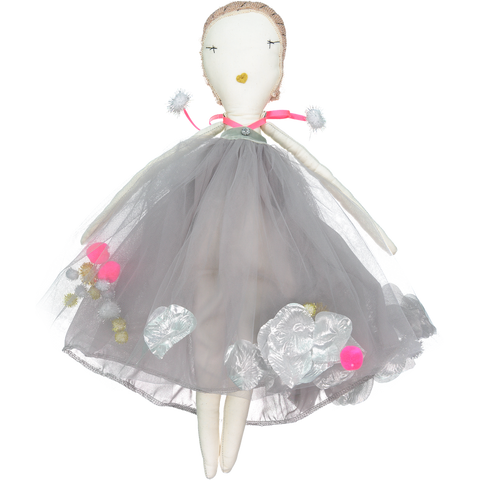 DOLL - JESS BROWN RAG DOLL - COTTON MUSLiN iN PiNK Le BOUQUET TUTU DRESS