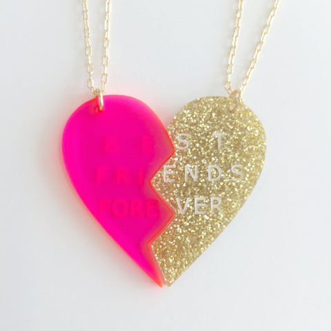 Heart Necklace (Set of 2) in Pink/Gold