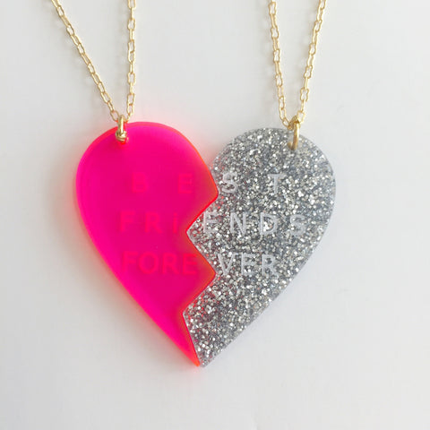Heart Necklace (Set of 2) in Pink/Silver