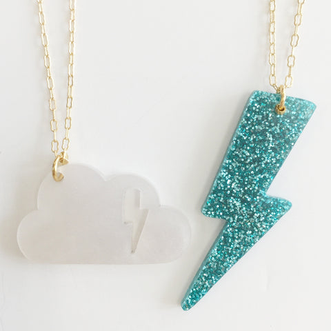 Cloudy Necklace (Set of 2) in Green/White