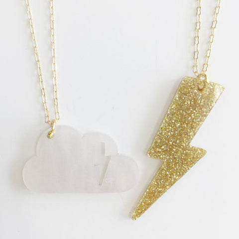 Cloudy Necklace (Set of 2) in Gold/White