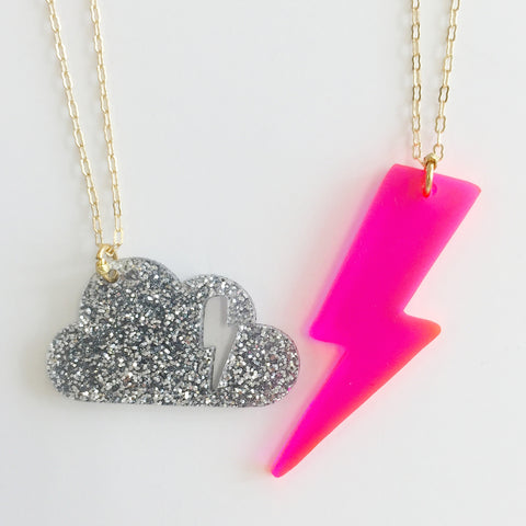 Cloudy Necklace (Set of 2) in Pink/Silver