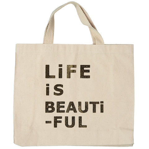 BAG - PETiT CANVAS BAG - LiFE iS BEAUTiFUL in GOLD