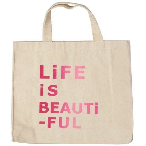 BAG - PETiT CANVAS BAG - LiFE iS BEAUTiFUL in PiNK
