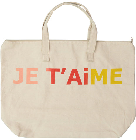Je T'aime Canvas Bag with Zipper in Natural